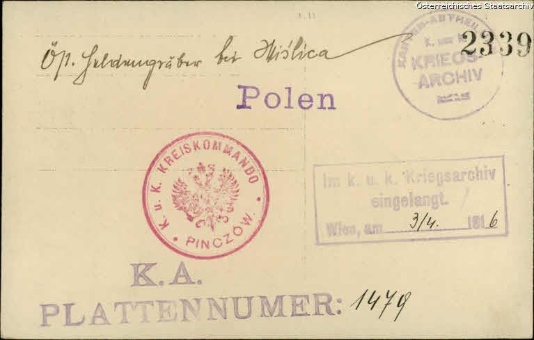 Wislica, österreichische Heldengräber vor 03.04.1916