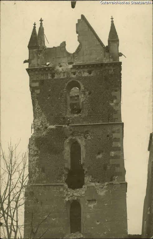 Wislica, Glockenturm der zerschoßenen Kirche